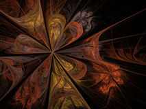 Gold orange unusual fractal floral pattern Stock Photos