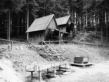 Gold ore mills. Medieval wooden water mills in Zlate Hory, Czech Republic Royalty Free Stock Photo