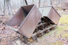 Gold ore mining cart. A gold ore mining cart stock images