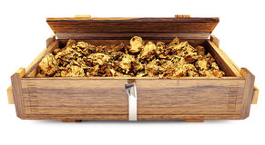 Gold ore in a wooden box Stock Photo