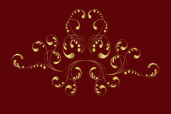 Gold ornament. Illustration with gold ornament on a red. Vector illustration Royalty Free Stock Image