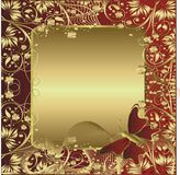 Gold ornament. The gold stylised ornament with space for the text and the flying butterfly Stock Image