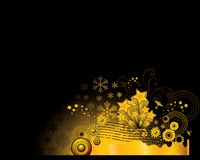 Gold ornament background. Beautiful illustration of golden stars flowers and snowflakes Stock Photo