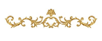 Gold ornament baroque style vignette. Hand drawn vintage engraving floral scroll filigree frame. Design pattern. Golden oriental damask curls and flowers for royalty free illustration