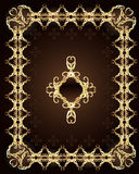 Gold ornament on a brown background Royalty Free Stock Photos