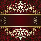 Gold ornament on a burgundy background card Stock Photo