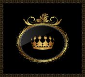 Gold ornament with crown Royalty Free Stock Photography