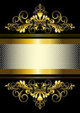 Gold ornament and gold stripes with ribbon Stock Photo
