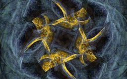 Gold ornament on a gray silk veil. Abstract image of yellow irregular shape with sharp edges and a gray heart on a background of gray fabric is twisted with vector illustration
