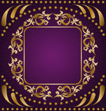 Gold ornament on a purple background Royalty Free Stock Photo