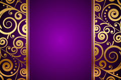 Gold ornament on purple background Royalty Free Stock Photo