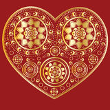 Gold ornamental heart Royalty Free Stock Images