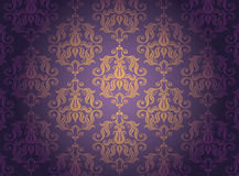 Gold ornamental pattern. Luxury gold ornamental pattern on a  violet background Stock Image