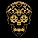 Gold ornamental sugar skull. Stock Photo