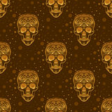Gold ornamental sugar skull pattern. Dia de los Muertas (Day of Stock Photography
