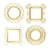 Gold ornamental vector frames with transparent shadow - vintage Royalty Free Stock Photos