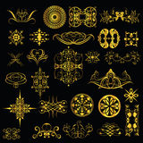 Gold ornaments on a black background. set1 Stock Photo