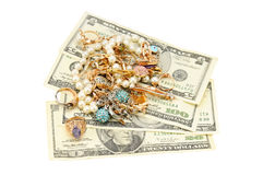 Gold ornaments and dollars Royalty Free Stock Photos