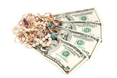 Gold ornaments and dollars Stock Photography