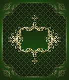 Gold ornaments on a green background. Golden, luxurious design, with fine mesh ornament on a dark green background Royalty Free Stock Photo