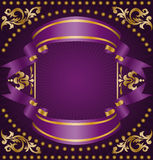 Gold ornaments with ribbons Stock Images