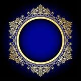 Gold ornate frame on blue Stock Photo