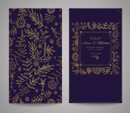 Gold ornate frame for invitations or announcements. Hand draw flowers Stock Photos
