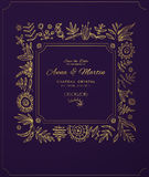 Gold ornate frame for invitations or announcements. Hand draw flowers Stock Image