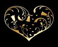 Gold ornate heart Stock Photos