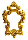 Gold ornate oval frame. On white background Royalty Free Stock Photo