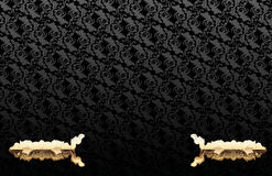 Gold Ornate Over Glow Black Wallpaper Stock Photography