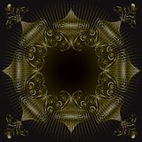 Gold ornate swirl frame Royalty Free Stock Images
