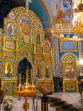 Gold ornated interior of orthodox church Royalty Free Stock Images