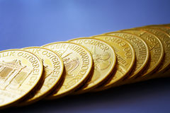 Gold ounces. These are gold ounces from Austria – philharmonic Royalty Free Stock Images