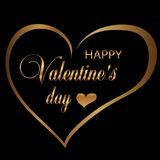 Gold outline hearts on a black background decoration for Valentine`s day. Vector. Illustration Stock Photo
