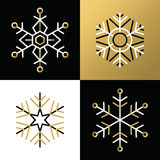 Gold outline line snowflake set icon christmas Royalty Free Stock Photo
