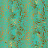 Gold outlines of flowers on turquoise background. Abstract flower seamless pattern. Hand drawn oriental pattern. Gold outlines on turquoise background Stock Images
