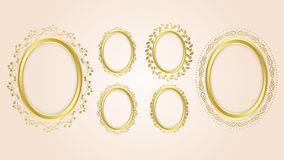 Gold oval decorative frames - vector set Royalty Free Stock Photos