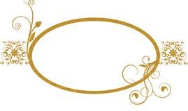 Gold oval frame background vector illustration
