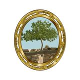 Gold oval frame with the image of a lonely fig. Ficus carica L. on ruins, the color vector image Royalty Free Stock Images