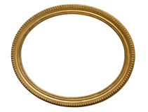 Gold oval picture frame. Isolated over white. Background Royalty Free Stock Images