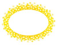 Gold Oval Stars Border or Logo. A clip art illustration of a gold colored oval shaped logo, border or label Royalty Free Stock Image