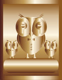 Gold owl - big boss. Important chief in the form of a golden owl and his team Stock Images