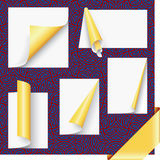 Gold page corners and ribbon set Royalty Free Stock Images