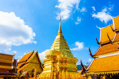 Gold Pagoda beautiful architecture in Wat Phrathat Doi Suthep Royalty Free Stock Photography