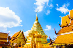 Gold Pagoda beautiful architecture in Wat Phrathat Doi Suthep Royalty Free Stock Photos