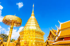 Gold Pagoda beautiful architecture in Wat Phrathat Doi Suthep Stock Photo