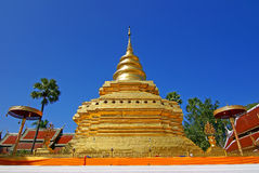 Gold pagoda 4. The temple can be dated back to the mid-1400s and houses a collection of bronze Buddha images while the secondary chapel contains a holy Buddha royalty free stock photography