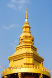 The gold pagoda in temple thailand. Pinnacle gold pagoda have name chedi 500 yod in temple thailand Royalty Free Stock Photography