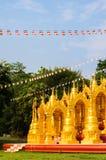 The gold pagoda in temple thailand. Pinnacle gold pagoda have name chedi 500 yod in temple thailand Stock Photos